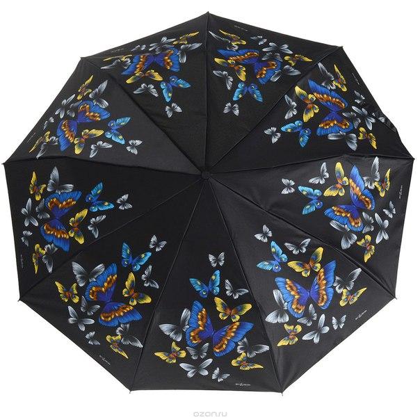 Зонт , автомат, 3 сложения, цвет: черный, синий. 239444-55, Zest
