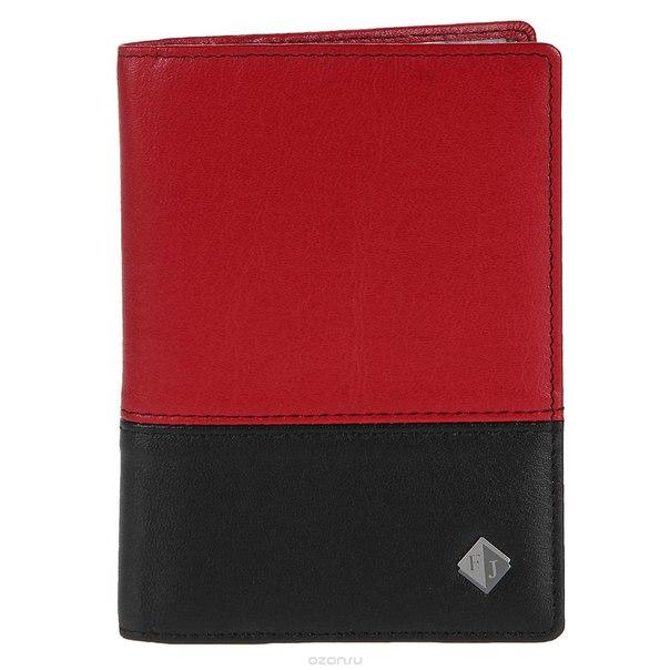 Обложка на паспорт flioraj, цвет: черный, красный. 2113-14547/14546, Leighton