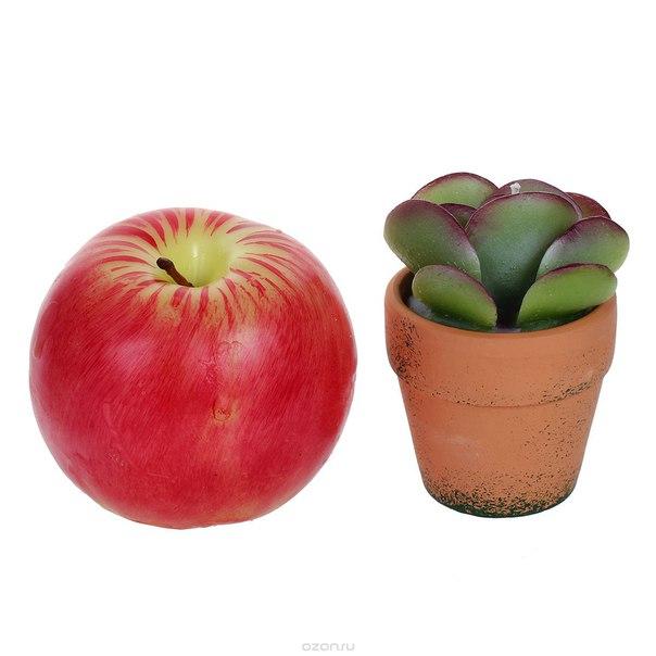 """Набор декоративных свечей """"кактус и яблоко"""", 2 шт, Карамба"""