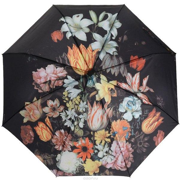 """Зонт женский  """"цветы"""", автомат, 3 сложения. 013-035fj, Flioraj"""