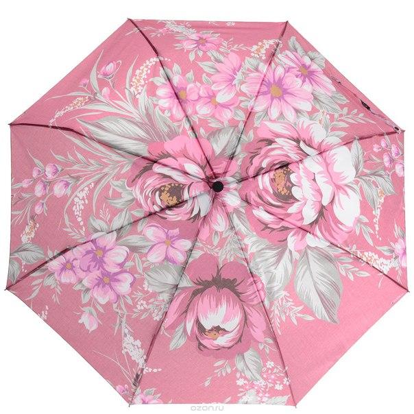 """Зонт женский  """"розы"""", автомат, 3 сложения. 013-036fj, Flioraj"""