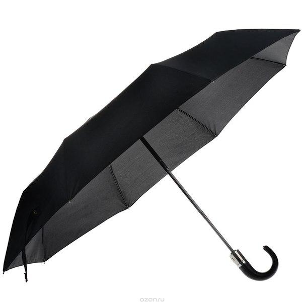 Зонт женский , автомат, 3 сложения, цвет: черный. 007fj, Flioraj