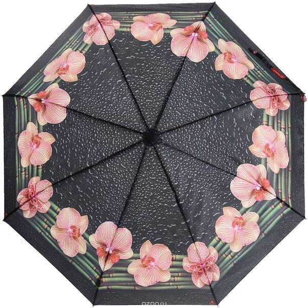 Зонт женский , автомат, 3 сложения, цвет: черный, зеленый. 12-003 zm, Zemsa