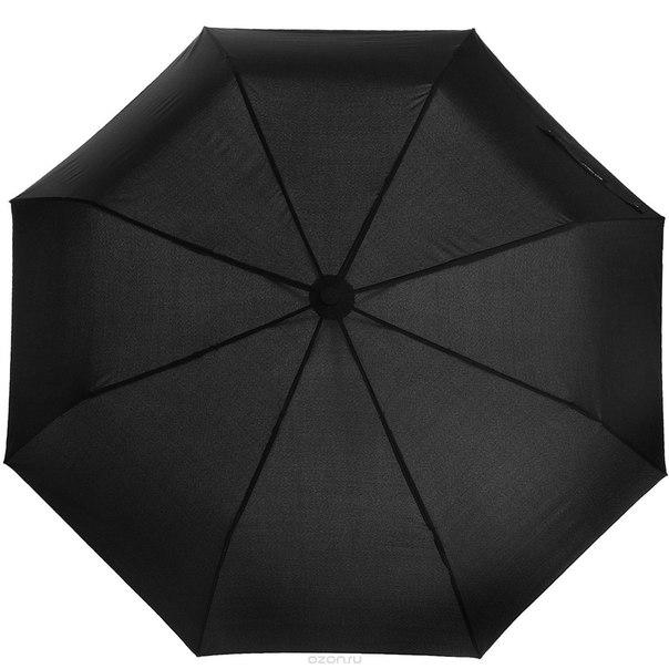 Зонт женский , автомат, 3 сложения, цвет: черный. 017fj, Flioraj