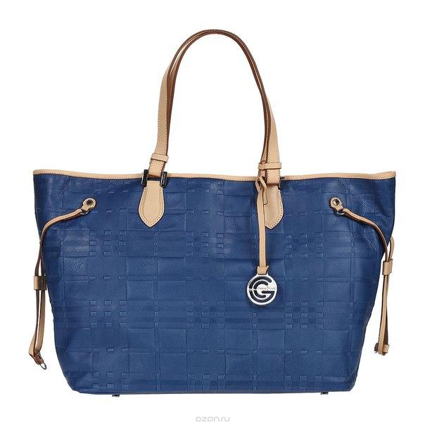 Сумка женская , цвет: синий, бежевый. 1636896e blue sand, Gianni Conti