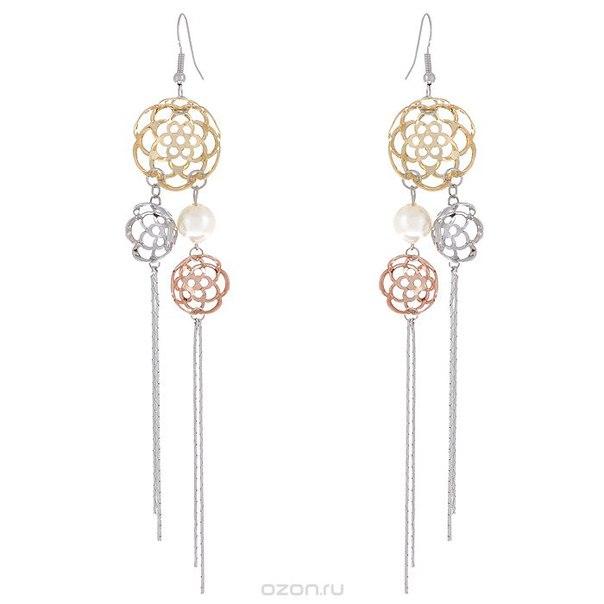 Серьги , цвет: золотистый, серебристый, белый. 06fer113/39, To Be Queen
