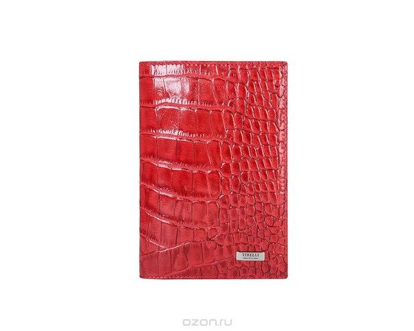 """Обложка для паспорта """"кроко"""", цвет: красный. 15-333-16, Tirelli"""