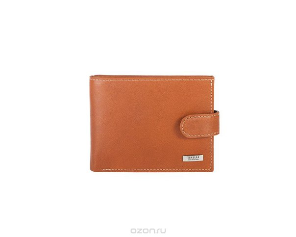 """Портмоне компактное  """"коньяк"""", с хлястиком, цвет: рыжий. 15-307-11, Tirelli"""