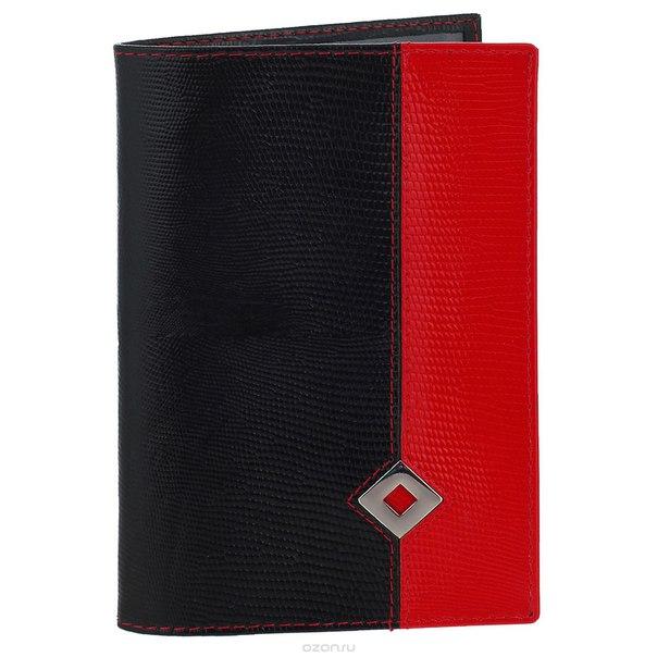 """Обложка для паспорта женская """"papillon noir"""", цвет: черный, красный. 310, Dimanche"""