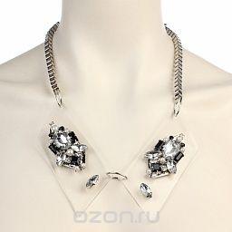 Колье , цвет: серебристый, черный, белый. fh30487, Fashion House