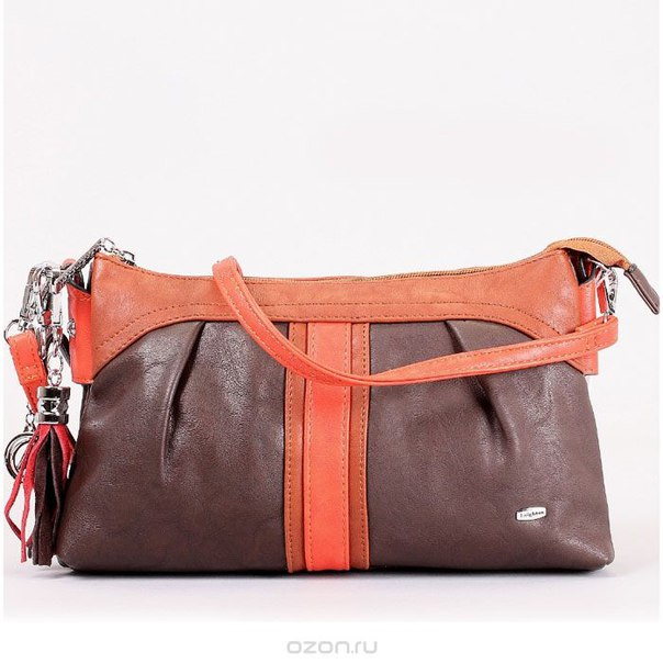 Клатч , цвет: коричневый, оранжевый. 520286-1112, Leighton