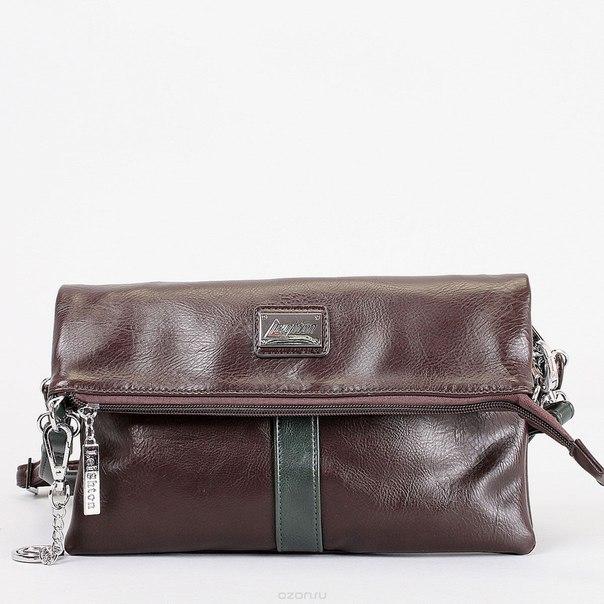 Клатч , цвет: коричневый, зеленый. 570498-292, Leighton