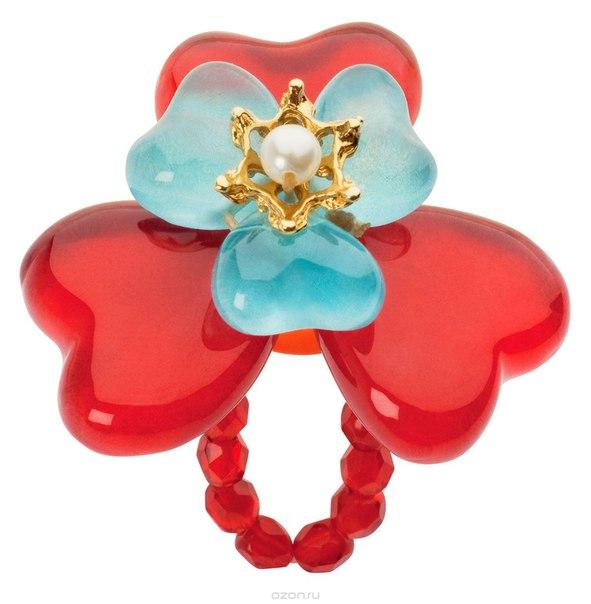 Кольцо , цвет: красный, голубой. r6848s, Lalo Treasures