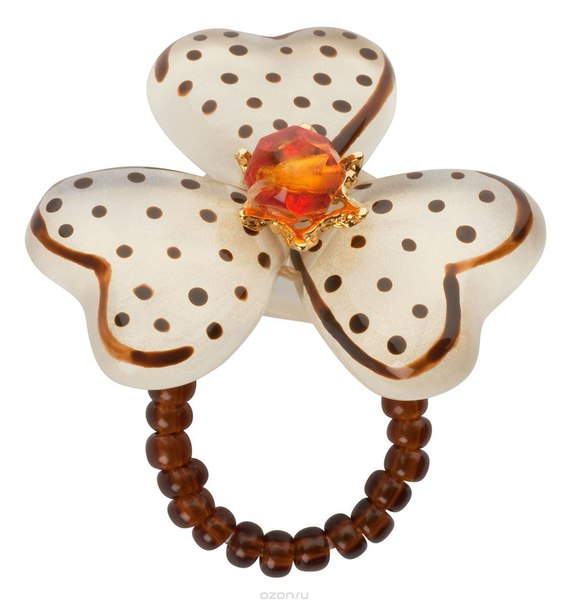 Кольцо , цвет: белый, коричневый. r6847s, Lalo Treasures