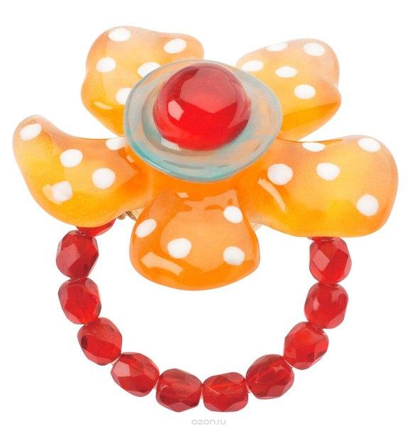 Кольцо , цвет: красный, оранжевый. r6851s, Lalo Treasures