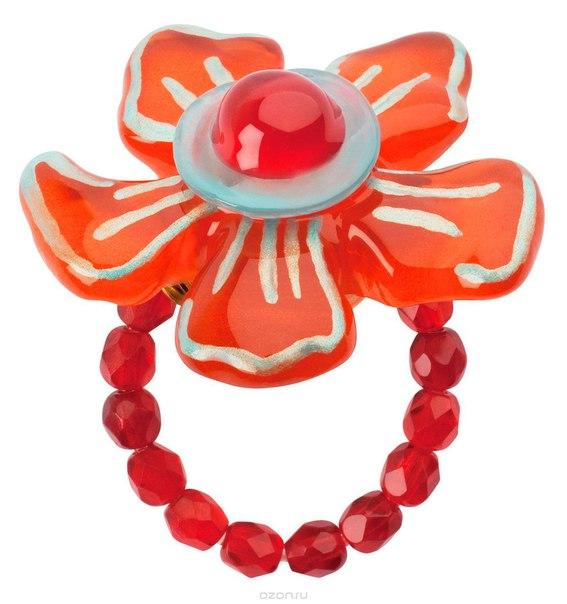 Кольцо , цвет: красный, голубой. r6852s, Lalo Treasures