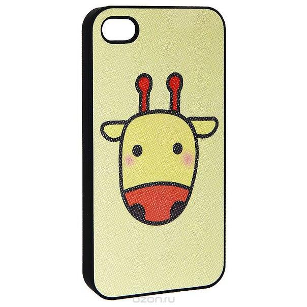 """Кавер на iphone 4 """"i жирафик"""", цвет: желтый. 0700775, Ezh-style"""