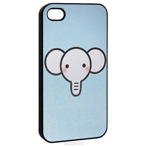 "Кавер на iphone 4 ""i слоник"", цвет: голубой. 0700778, Ezh-style"