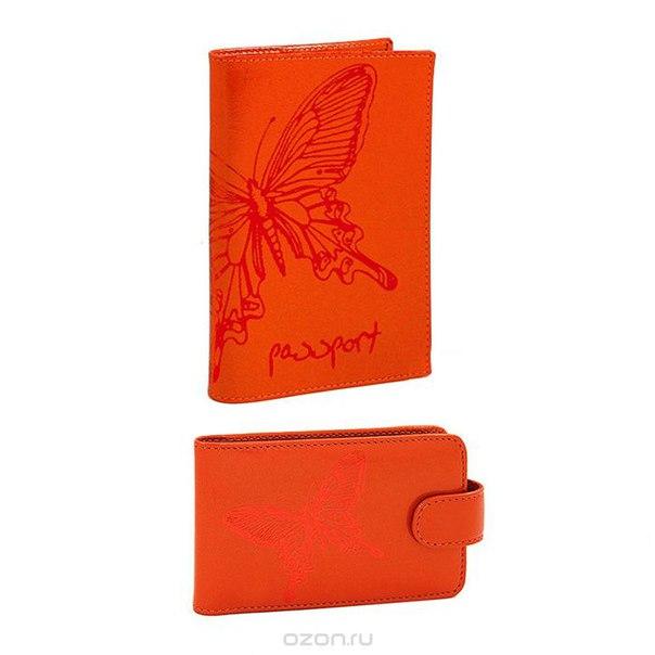 """Подарочный набор """"paradisland"""": обложка для паспорта, визитница, цвет: коралловый. v.25.nk.коралл/o.14.nk.коралл, Askent"""