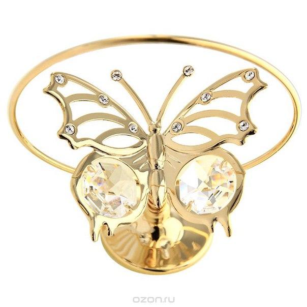 """Настольный сувенир вращающийся """"летящая бабочка"""", цвет: золотистый, 7 см, Crystocraft"""