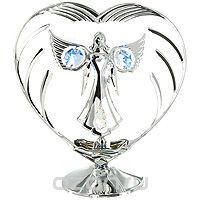 """Миниатюра """"ангел и сердце"""", цвет: серебристый, 14 см, Crystocraft"""