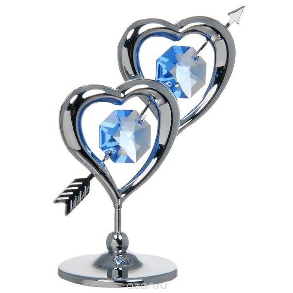 """Миниатюра """"два сердца пронзенные стрелой"""", цвет: серебристый, 6,5 см, Crystocraft"""