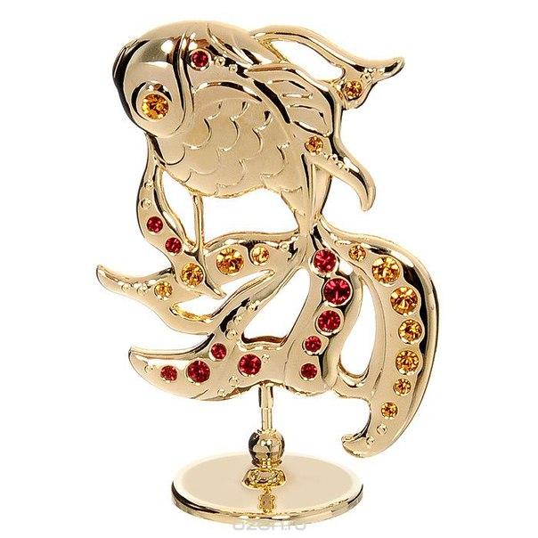 """Миниатюра """"золотая рыбка"""", цвет: золотистый, 7,5 см, Crystocraft"""