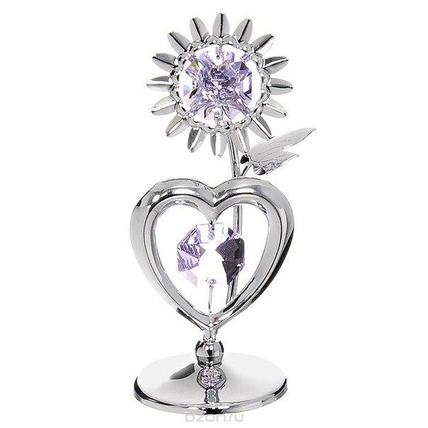 """Миниатюра """"подсолнух с сердцем"""", цвет: серебристый, 7,5 см, Crystocraft"""