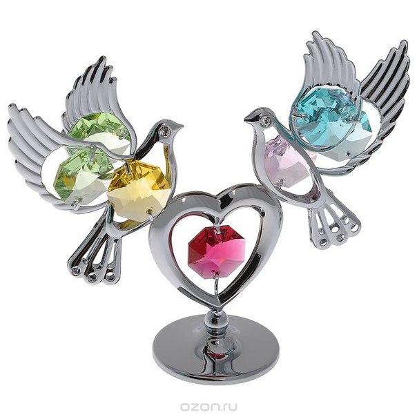 "Фигурка декоративная ""голуби с сердцем"", цвет: серебристый, Crystocraft"