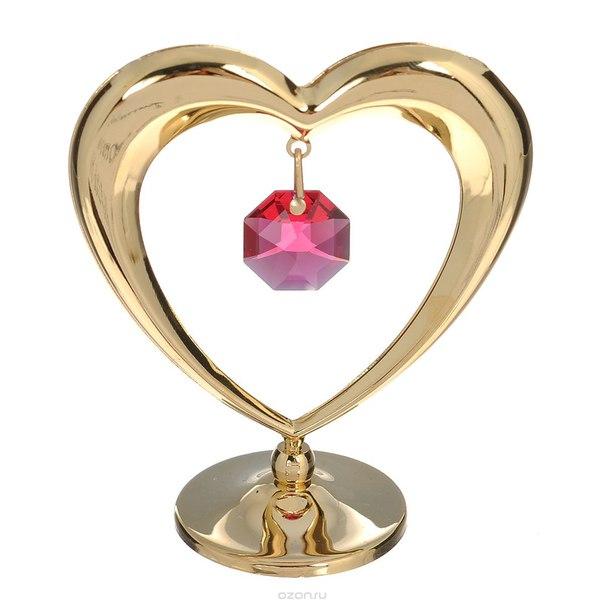 """Фигурка декоративная """"сердце"""", цвет: золотистый, красный. 67534, Crystocraft"""