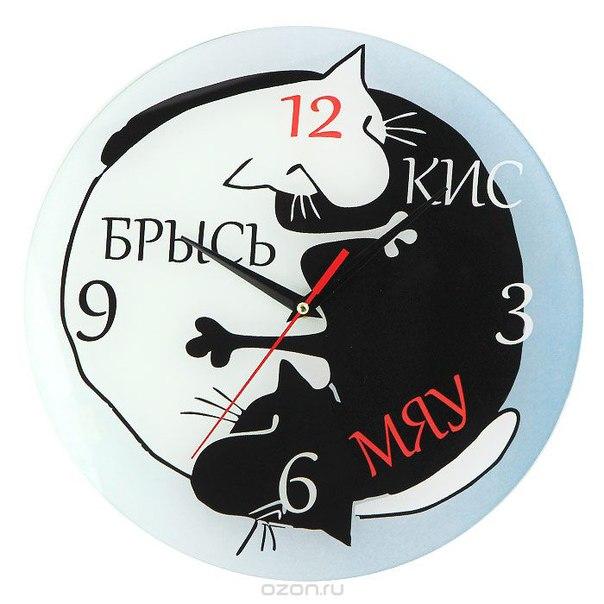 """Часы настенные """"кис мяу брысь"""", Эврика"""
