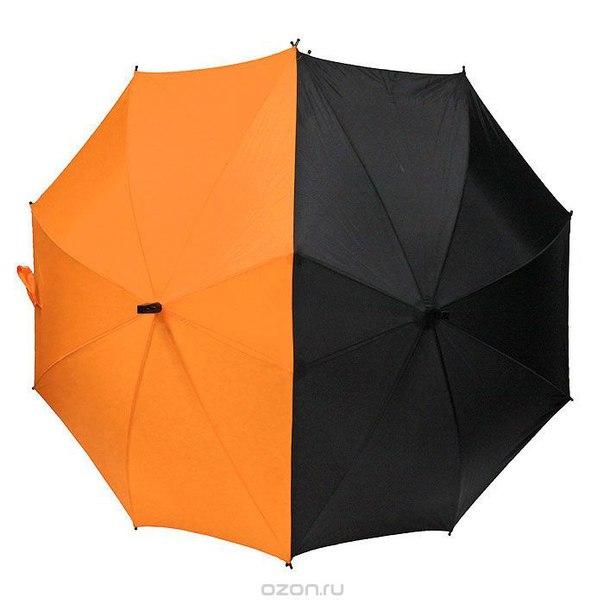 """Зонт-трость """"для двоих"""", полуавтомат, цвет: черный, оранжевый, 1 + 1"""