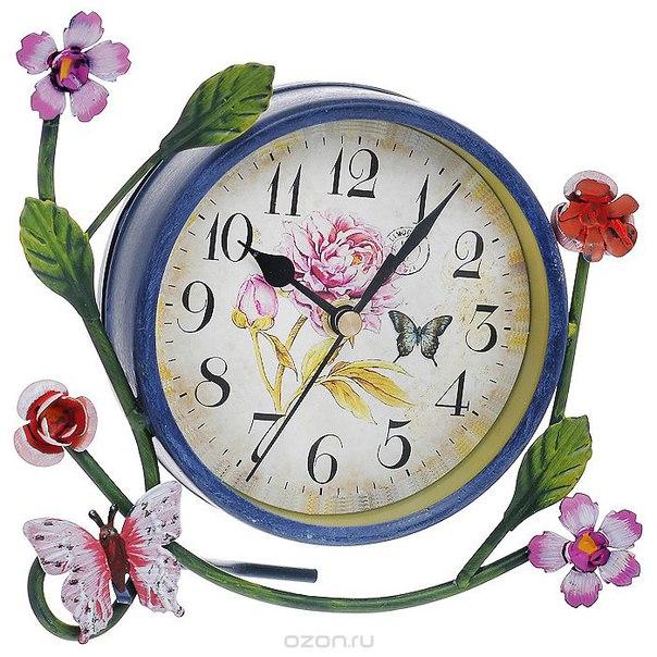 """Часы настольные """"цветы и бабочки"""". t1031-c, ИП Фотьев"""