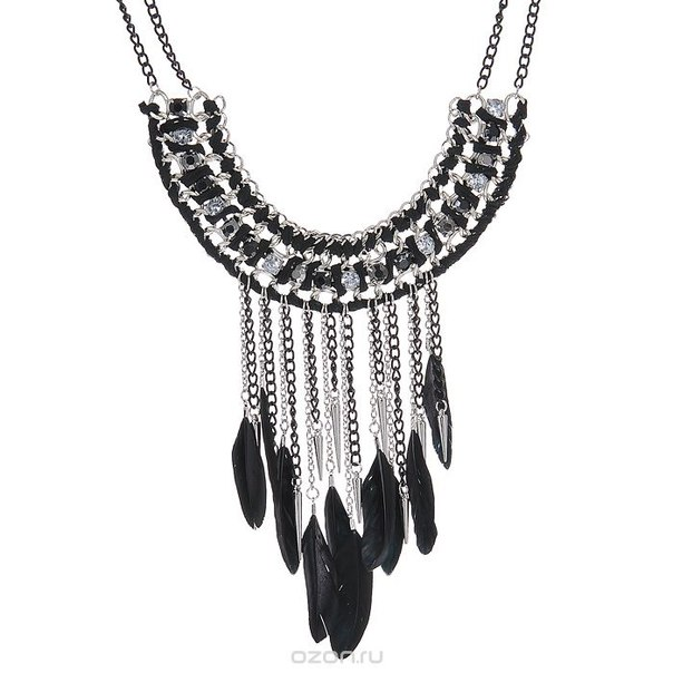 "Колье "" lx"", цвет: серебристый, черный. t-b-7236-neck-sl.black, Taya"