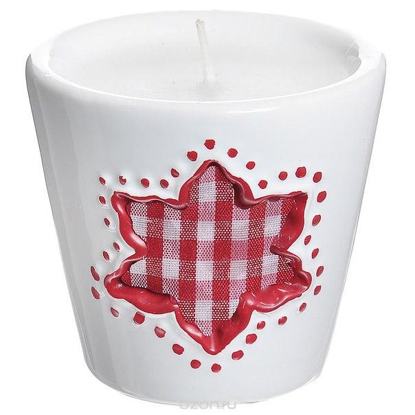 """Декоративный подсвечник """"цветок"""", со свечой, цвет: белый, красный. 26788, Феникс-презент"""