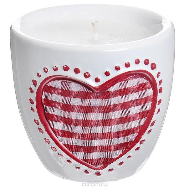 """Декоративный подсвечник """"сердце"""", со свечой, цвет: белый, красный. 26787, Феникс-презент"""