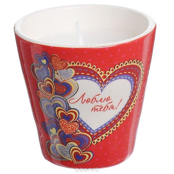 """Декоративный подсвечник """"люблю тебя!"""", со свечой, цвет: красный. 31303, Феникс-презент"""