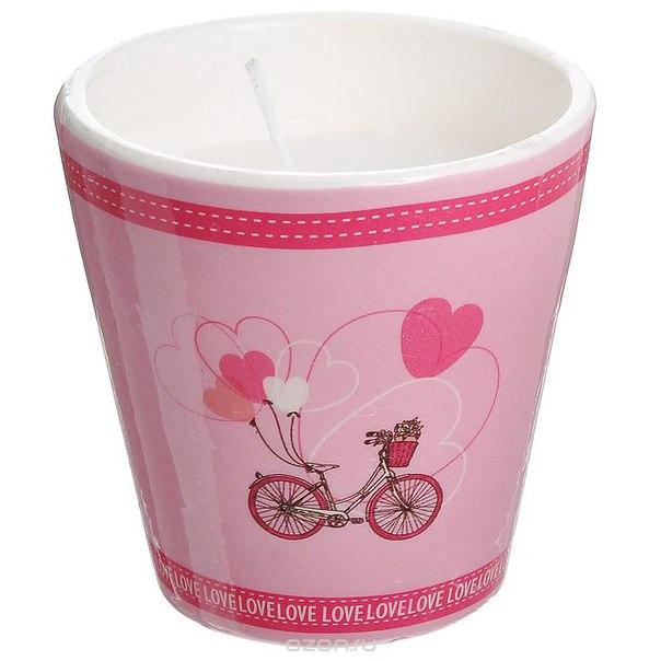 """Декоративный подсвечник """"велосипед"""", со свечой, цвет: розовый. 31304, Феникс-презент"""