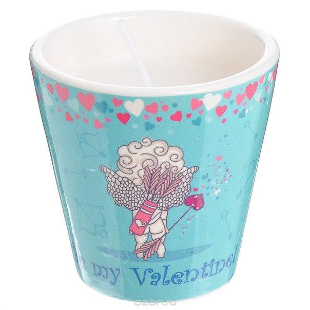 """Декоративный подсвечник """"be my valentine!"""", со свечой, цвет: голубой. 31306, Феникс-презент"""