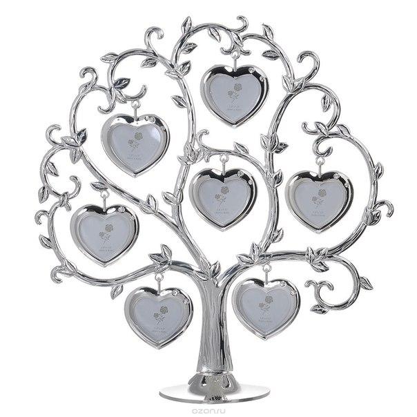 "Декоративная фоторамка ""дерево"", цвет: серебристый, на 7 фото, 4 см х 4 см. 264002, Bianco Sole"
