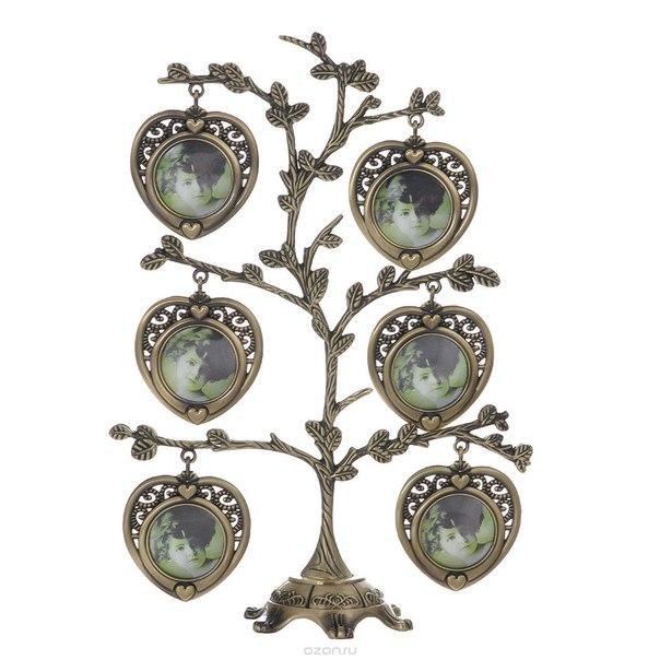 "Декоративная фоторамка-дерево ""сердце"", цвет: бронзовый, на 7 фото, 4 см х 4 см. 264062, Bianco Sole"