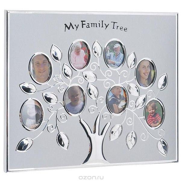 """Фоторамка """"мое фамильное древо"""", цвет: серебристый, на 8 фото. 95112, Эврика"""