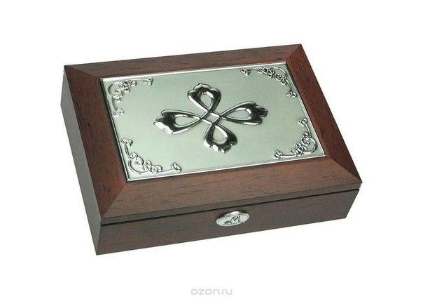 """Шкатулка ювелирная """"moretto"""", цвет: коричневый, 18 см х 13 см х 5 см. 39585, Русские подарки"""