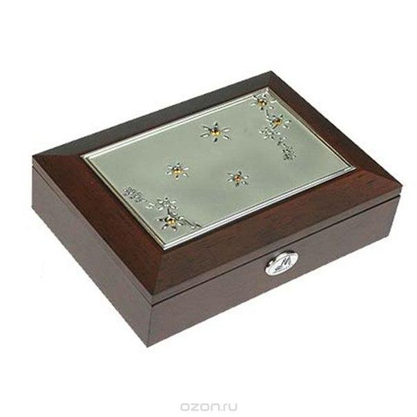 Шкатулка ювелирная , цвет: коричневый, 18 см х 13 см х 5 см, Moretto