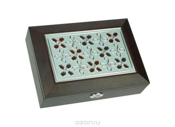 """Шкатулка ювелирная """"moretto"""", цвет: коричневый, 18 см х 13 см х 5 см. 39734, Русские подарки"""