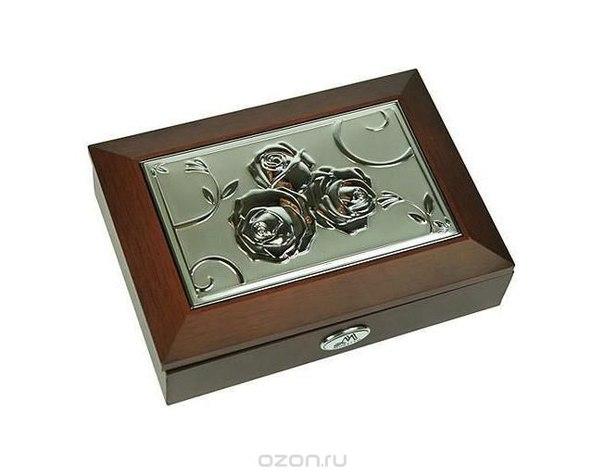 """Шкатулка ювелирная """"moretto"""", цвет: коричневый, 18 см х 13 см х 5 см 39833, Русские подарки"""