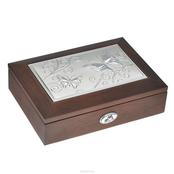 Шкатулка ювелирная , цвет: коричневый, 17,5 см х 12,5 см х 5 см, Moretto