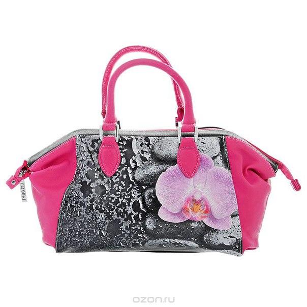 """Сумка женская  """"орхидея"""", цвет: черный, розовый. 560374, Flioraj"""