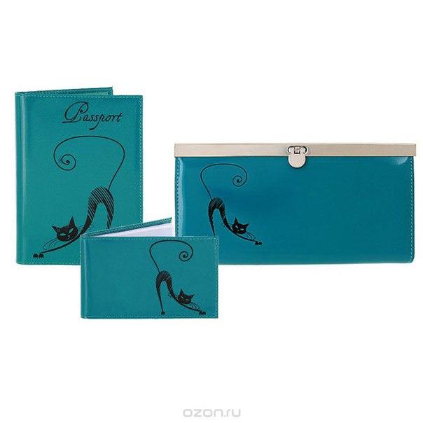 Подарочный набор : обложка для паспорта, визитница, портмоне, цвет: бирюзовый. v.37/o.31/pj.37, Befler