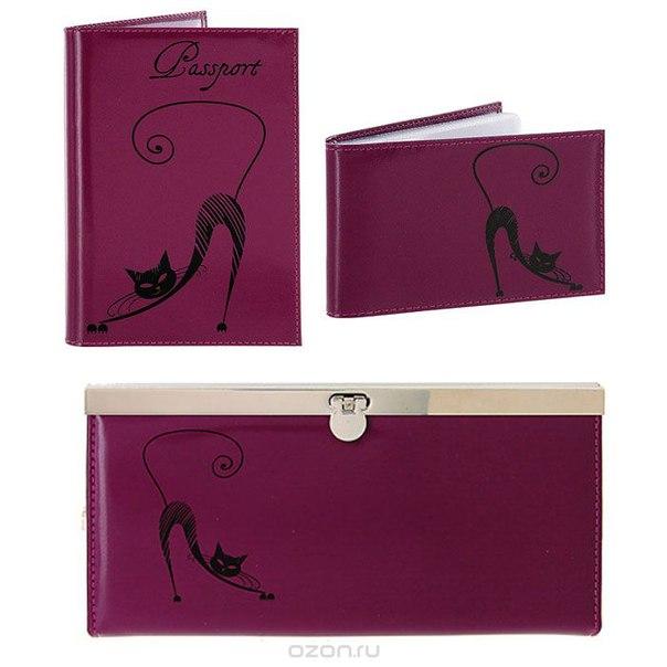 Подарочный набор : обложка для паспорта, визитница, портмоне, цвет: фиолетовый. o.31.vi/v.37.vi/pj.37.vio, Befler